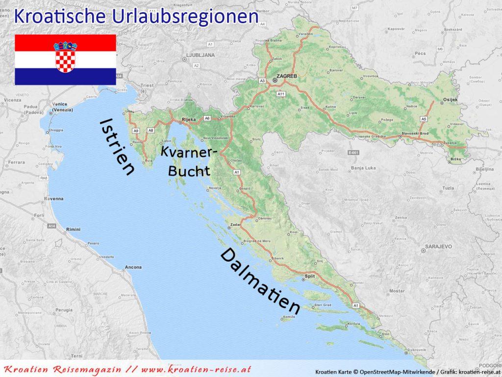 Urlaubsregionen Kroatien Istrien Kvarner-Bucht Dalmatien