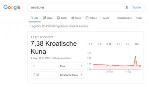 Umrechnungskurs Euro Kuna